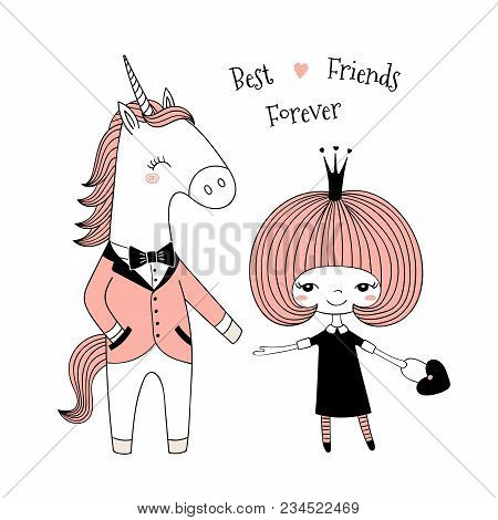 Hand Drawn Vector Illustration Of A Cute Little Princess In A Black Dress And Unicorn In A Dinner Ja
