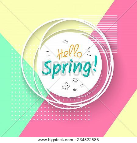 White Banner With Text Hello Spring And Butterflies On A Geometric Modern Trendy Background With Dot