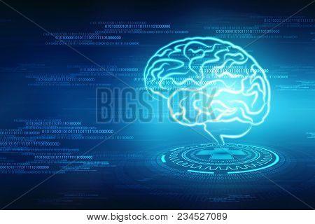 Human brain 2d illustration, Digital illustration of Human brain structure, Creative brain concept b