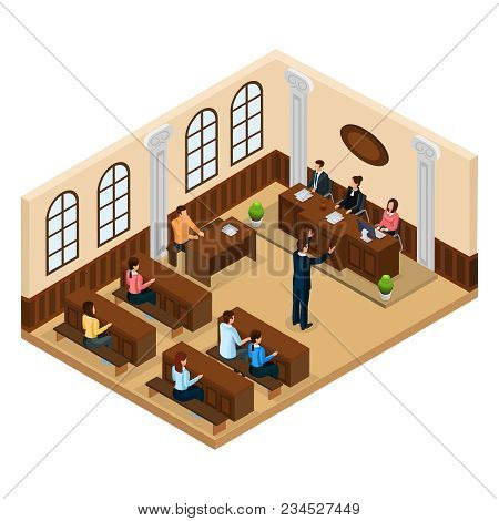 Isometric Judicial System Concept With Lawyer Defending His Client In Courtroom Isolated Vector Illu