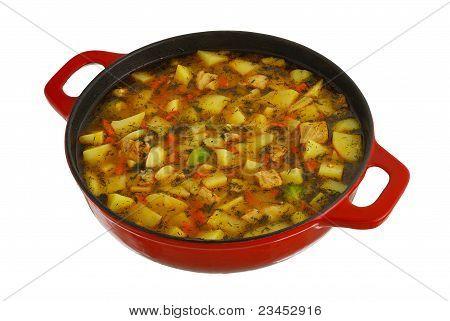 Big Red Saucepan With Hot Ragout