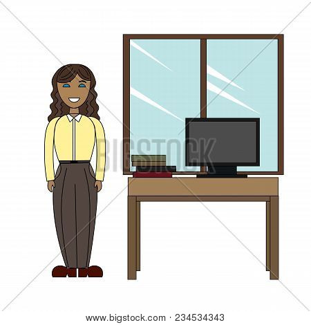 Girl Employee In A Strict Business Attire Next To The Desk.