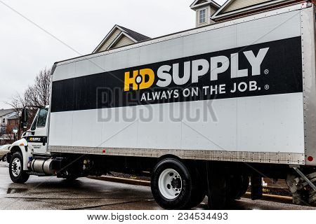 Indianapolis - Circa April 2018: Hd Supply Distributor Truck. Hd Supply Is One Of The Largest Indust