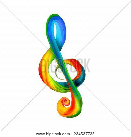 Colorful Treble Clef In The Form Of Twisted Paint On A White Background. Vector Illustration