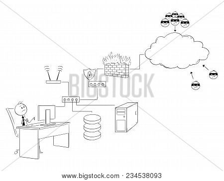 Cartoon Stick Man Drawing Conceptual Illustration Of Businessman Working On Secured Internet And Loc