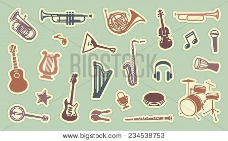 Silhouettes Of Various Musical Instruments On Stickers