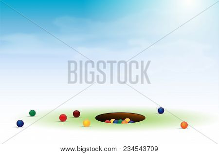 Marbles Game With Balls And Hole Under Blue Sky - Vector Illustration