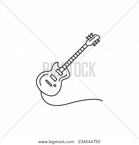 Electric Guitar Icon. Outline Electric Guitar Vector Icon For Web Design Isolated On White Backgroun