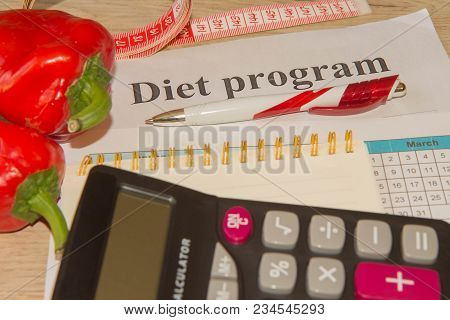 Diet Concept. Concept Diet And Weight Loss On The Table. Healthy Fresh Fruit For Diet
