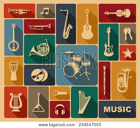 Silhouettes Of Various Musical Instruments In Retrostyle