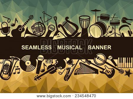 Banner With Silhouettes Of Musical Instruments. Vector Illustration