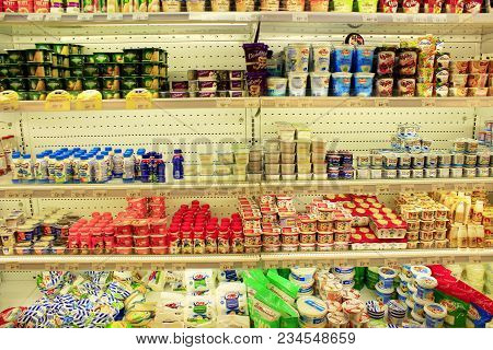 Chernihiv / Ukraine. 26 August 2017: Milk Yogurts And Others Dairy Produce On Shelves Of Shop. Shop