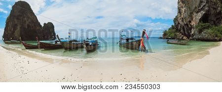 Panoramic Shot Of Boats In The Blue Water Of Phra Nang Beach Railay Krabi Province Thailand