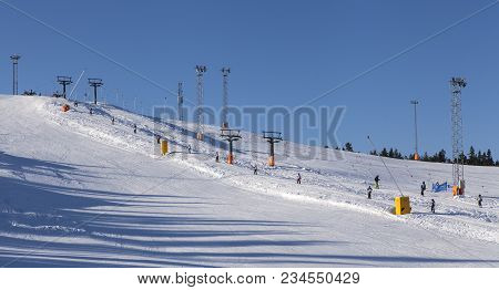 Umea, Sweden On February 22. View Of The Downhill Slope And Visitors On February 22, 2018 In Umea, S