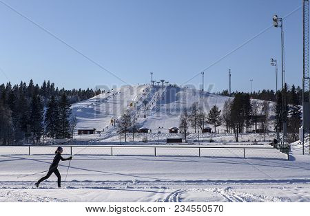 Umea, Sweden On February 22. View Of The Downhill Slope And A Stadium On February 22, 2018 In Umea,