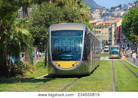 Nice, France - June 22, 2016: Modern Trams In The Downtown Nice