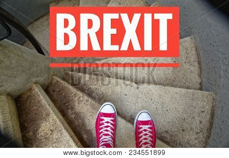 Red Sneakers On Spiral Staircase When Going Downhill And The Inscription In English How Are You Doin
