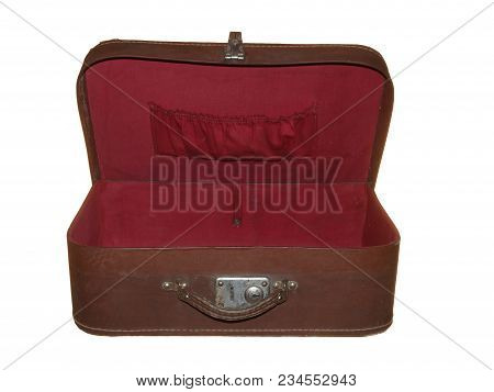 Old Suitcase Of Brown Color With One Metal Lock Isolated On White Background.