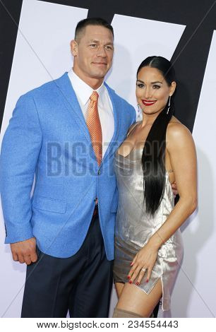 John Cena and Nikki Bella at the Los Angeles premiere of 'Blockers' held at the Regency Village Theatre in Westwood, USA on April 3, 2018.