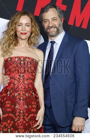 Leslie Mann and Judd Apatow at the Los Angeles premiere of 'Blockers' held at the Regency Village Theatre in Westwood, USA on April 3, 2018.