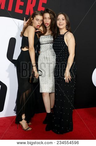 Gideon Adlon, Rockie Adlon and Odessa Adlon at the Los Angeles premiere of 'Blockers' held at the Regency Village Theatre in Westwood, USA on April 3, 2018.