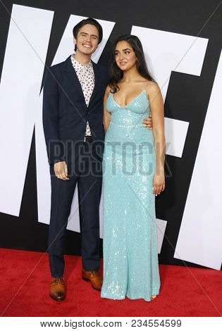 Miles Robbins and Geraldine Viswanathan at the Los Angeles premiere of 'Blockers' held at the Regency Village Theatre in Westwood, USA on April 3, 2018.