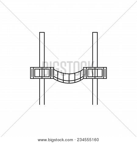 Wood Bridge Icon. Outline Wood Bridge Vector Icon For Web Design Isolated On White Background