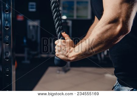 Close-up Of Man Doing Exercises On Muscles Of Triceps In Simulator. Muscles On Arms, Ligaments. Conc
