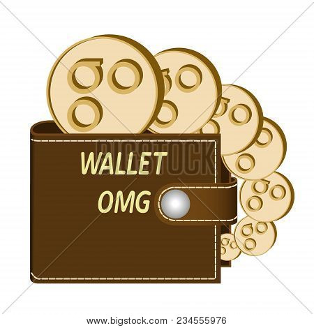 Omisego Wallet With Coins On A White Background , Crypto Currency In The Wallet ,omisego Coins In Th
