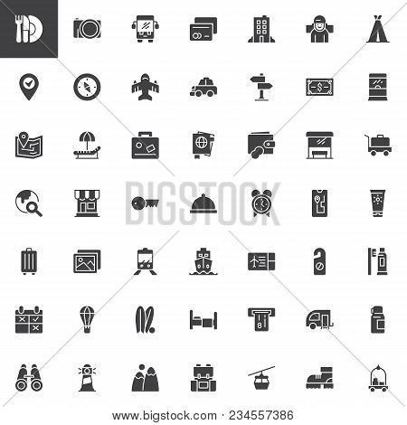 Travel Vector Icons Set, Modern Solid Symbol Collection, Filled Style Pictogram Pack. Signs, Logo Il