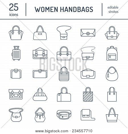 Women Handbags Flat Line Icons. Bags Types - Crossbody, Backpacks, Clutch, Totes, Hobo, Leather Brie