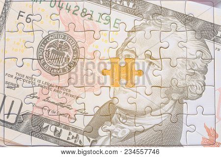 Usa Banknotes Jigsaw Puzzle On Gold Bitcoin, Missing Jigsaw Puzzle Pieces .key For Success Concept.