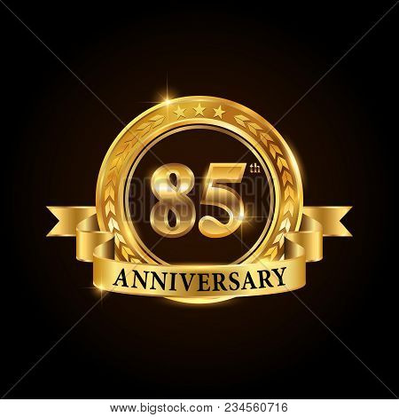 85 Years Anniversary Celebration Logotype. Golden Anniversary Emblem With Ribbon. Design For Booklet