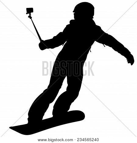 Black Silhouette Of A Snowboarder Descending The Mountain Slope With Action Camera - Vector Illustra