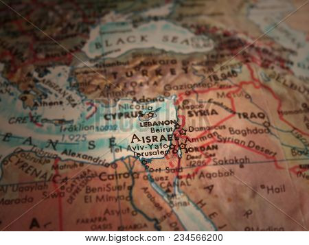Middle east map. Israel in focus. 3D rendering