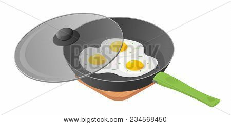 Flat Isometric Illustration Of Cooking Pan With Fried Scrambled Eggs, Glass Lid. The Morning Eating