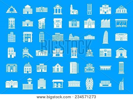 Building Icon Set. Simple Set Of Building Vector Icons For Web Design Isolated On Blue Background