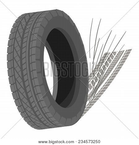 Spinning Tyre Icon. Isometric Illustration Of Spinning Tyre Vector Icon For Web