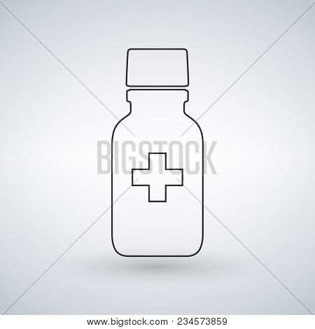 Linear Pill Bottle Icon With Medical Cross. Modern Pill Bottle For Pills Or Capsules. Flat Style Vec