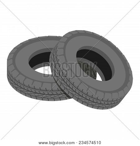 Truck Tyre Icon. Isometric Illustration Of Truck Tyre Vector Icon For Web