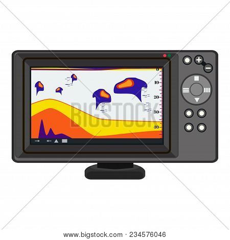 Fish Finder Echo Sounder. Electronic Equipment For Fishing. Vector Illustration Isolated On White Ba