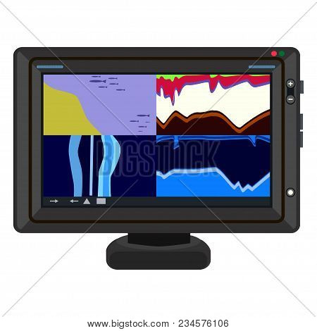 Fish Finder Chart Plotter. Electronic Equipment For Fishing. Vector Illustration Isolated On White B