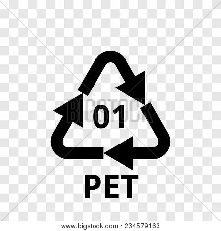 Pet Recycling Code Arrow Icon For Plastic Polyester Fiber And Soft Drink Bottles. Vector Recycle Sym