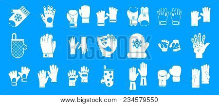 Gloves Icon Set. Simple Set Of Gloves Vector Icons For Web Design Isolated On Blue Background