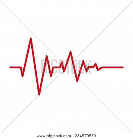 Heart Pulse Red Line Cardiogram Vector Isolated Icons On White Background. Heartbeat Cardiology Medi