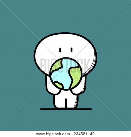 Cute Man And Planet Earth Or Globe In The Hands. Environment, Ecology, Nature And Life Protection Ca