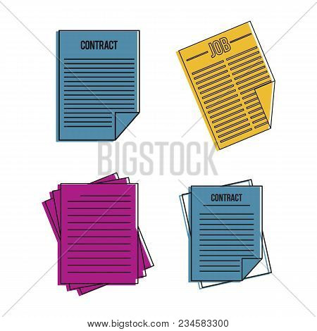Contract Paper Icon Set. Color Outline Set Of Contract Paper Vector Icons For Web Design Isolated On