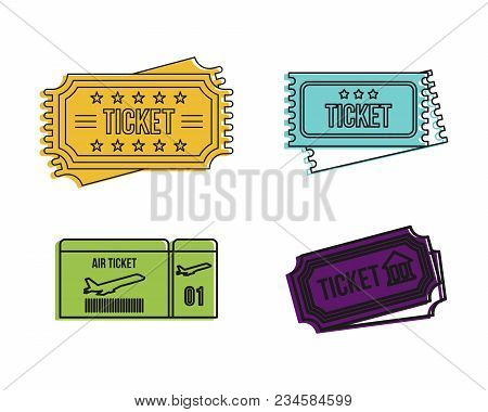 Ticket Icon Set. Color Outline Set Of Ticket Vector Icons For Web Design Isolated On White Backgroun