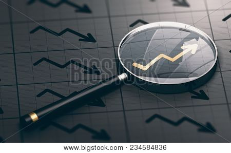 3d Illustration Of A Magnifying Glass Over A Golden Positive Chart Symbol. Concept Of Investing Oppo