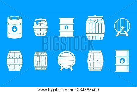 Barrel Icon Set. Simple Set Of Barrel Vector Icons For Web Design Isolated On Blue Background